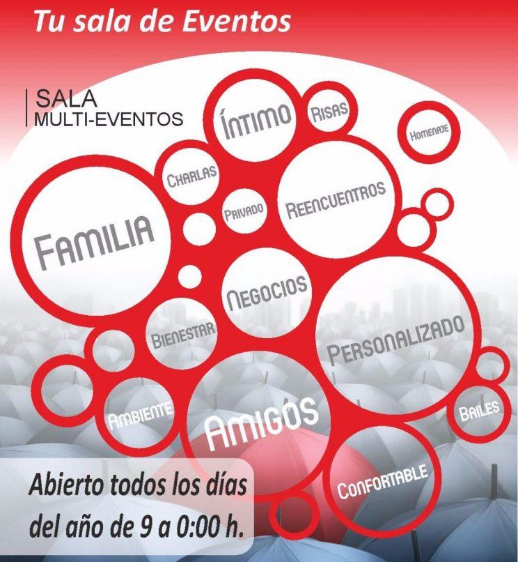 Sala de eventos, cumpleaños, bautizos, comuniones, aniversarios, reuniones familiares, exposiciones, talleres